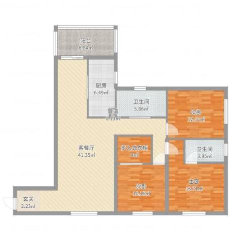 维也纳花园3室2厅2卫1厨131.00㎡户型图