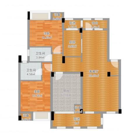 万科红郡2室2厅2卫1厨132.00㎡户型图
