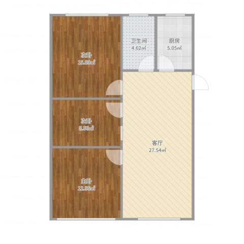 龚华新村3室1厅1卫1厨92.00㎡户型图
