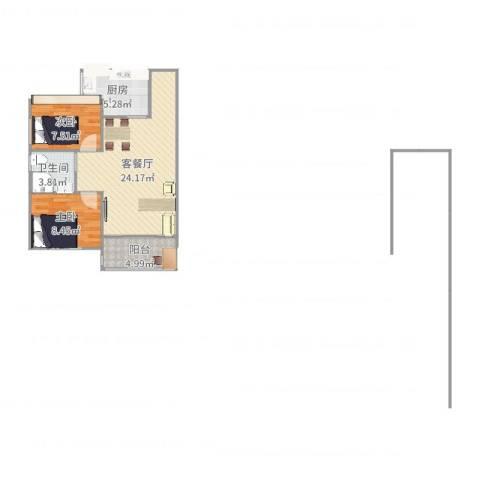 繁景花园2室2厅1卫1厨68.00㎡户型图
