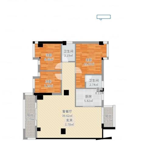 泉州市金海湾3室2厅2卫1厨111.00㎡户型图
