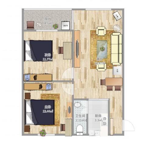 新兴白云花园2室1厅1卫1厨72.00㎡户型图