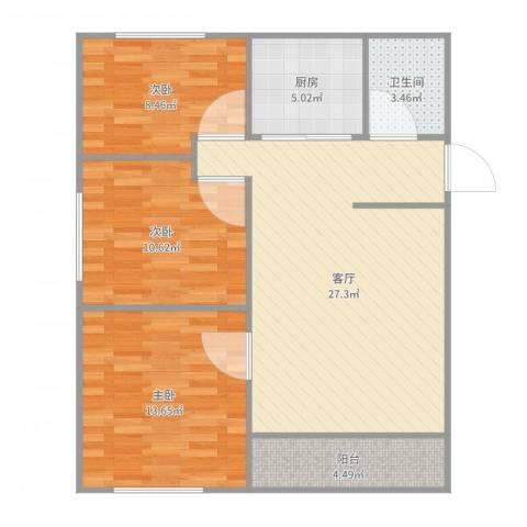 龙山山庄91平3室3室1厅1卫1厨91.00㎡户型图