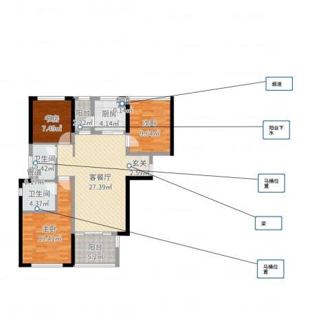 万科金域华府二期3室2厅2卫1厨77.56㎡户型图