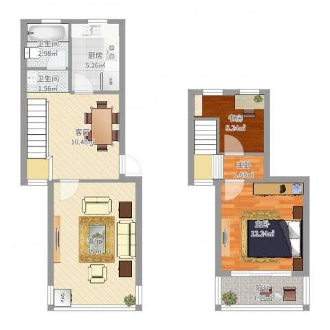 天官和庭3室2厅2卫1厨82.00㎡户型图