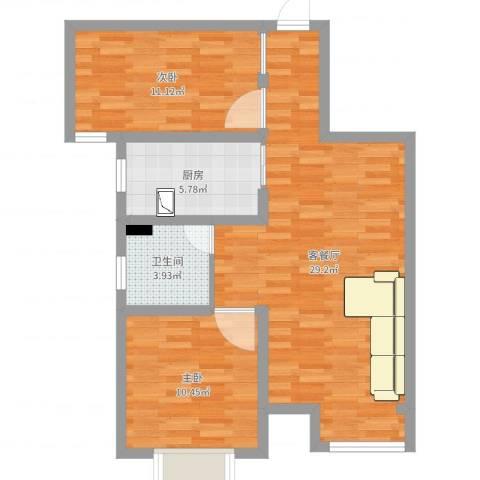 英伦假日2室2厅1卫1厨76.00㎡户型图