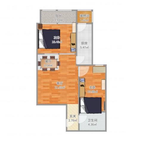 上龙西里2室1厅1卫1厨73.00㎡户型图