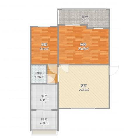 热电里2室2厅1卫1厨90.00㎡户型图