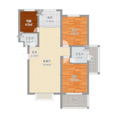 金鑫・盐湖城3室2厅2卫1厨91.31㎡户型图