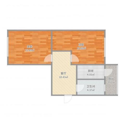 中山北里2室1厅1卫1厨67.00㎡户型图