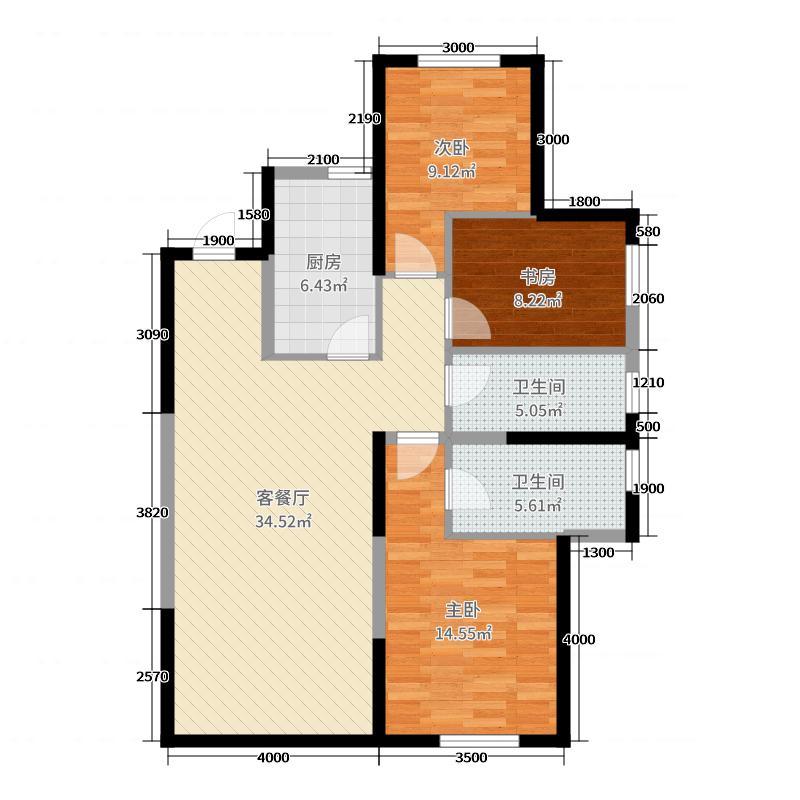 中海�m庭125.00㎡二期GF户型3室3厅2卫1厨