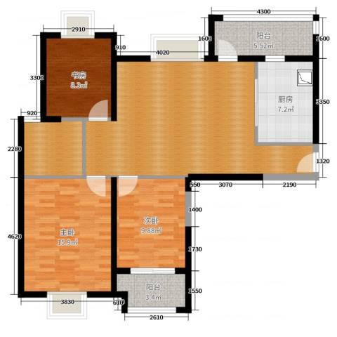实地・玫瑰庄园3室0厅0卫1厨108.00㎡户型图