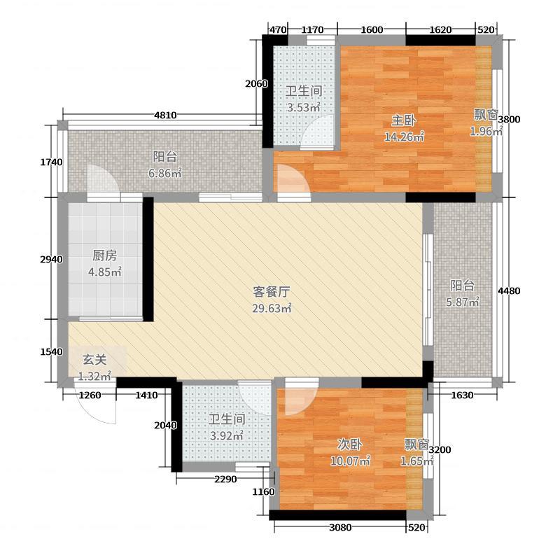 金水湾98.87㎡16栋D户型2室2厅2卫1厨