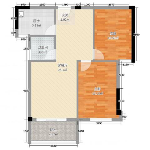 永鸿御珑湾2室2厅1卫1厨76.00㎡户型图
