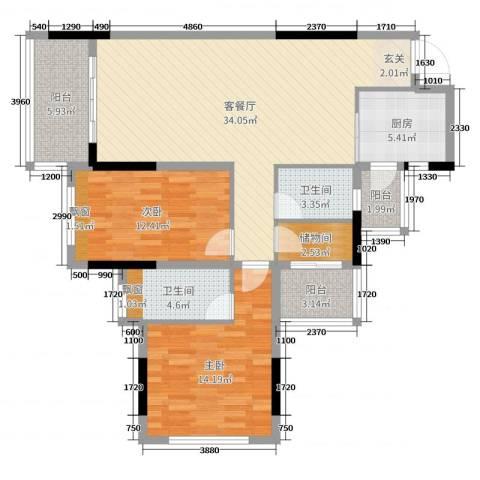 金水湾2室2厅2卫1厨87.60㎡户型图