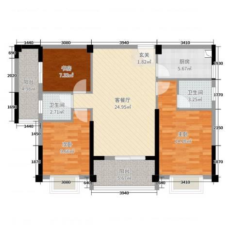 永鸿御珑湾3室2厅2卫1厨98.00㎡户型图