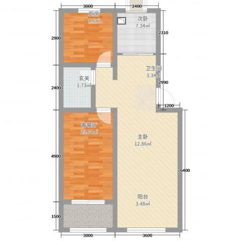 瑞景龙湾2室2厅1卫1厨86.00㎡户型图