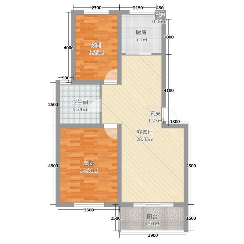 浦东国际花园87.00㎡S13户型2室2厅1卫1厨