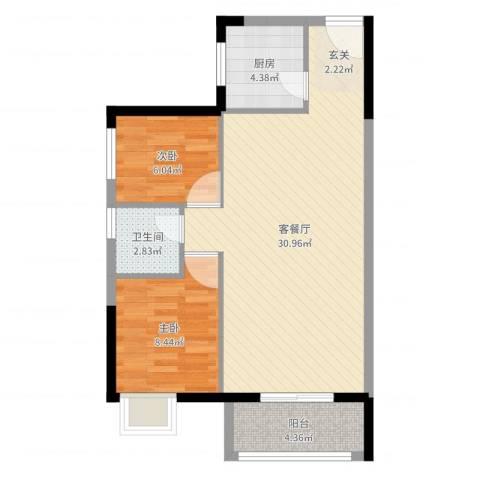 顺景蔷薇山庄四期2室2厅1卫1厨71.00㎡户型图