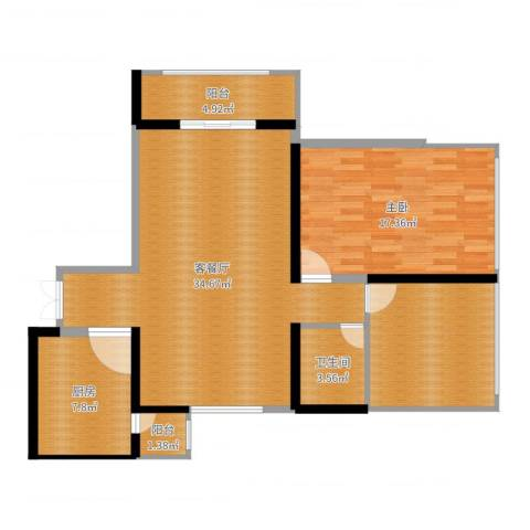 东风广场1室2厅1卫1厨101.00㎡户型图