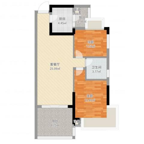 长沙恒大城2室2厅1卫1厨79.00㎡户型图