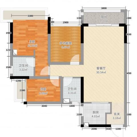 万科金色溪谷花园2室2厅2卫1厨89.00㎡户型图