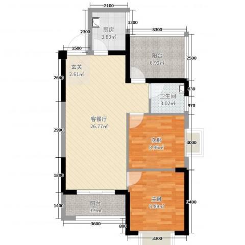 优品汇城市广场2室2厅1卫1厨87.00㎡户型图