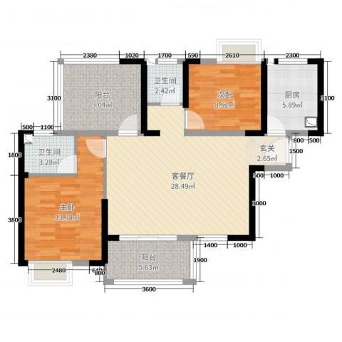 优品汇城市广场2室2厅2卫1厨104.00㎡户型图