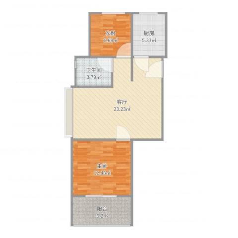 北城枫景园2室1厅1卫1厨72.00㎡户型图