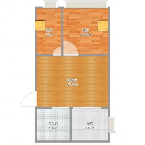英才商厦2室2厅1卫1厨55.00㎡户型图