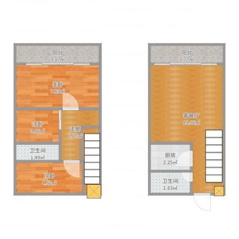 英才商厦3室2厅2卫1厨60.00㎡户型图