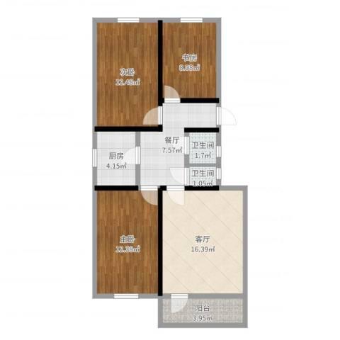 安外东河沿小区3室2厅2卫1厨85.00㎡户型图