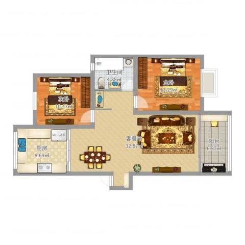 天一家园六期2室2厅1卫1厨96.00㎡户型图