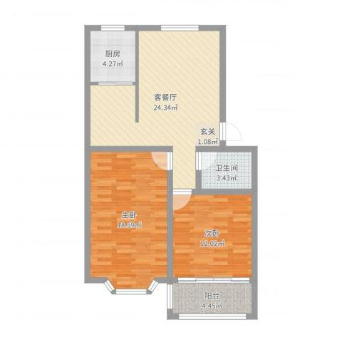 山海顺沁苑2室2厅1卫1厨84.00㎡户型图