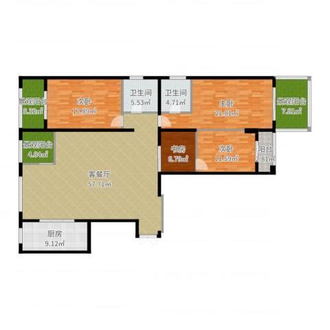 新地中心4室2厅2卫1厨195.00㎡户型图