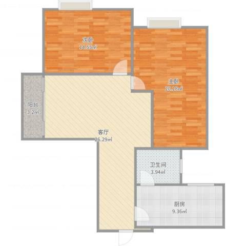 名汇大厦2室1厅1卫1厨97.00㎡户型图