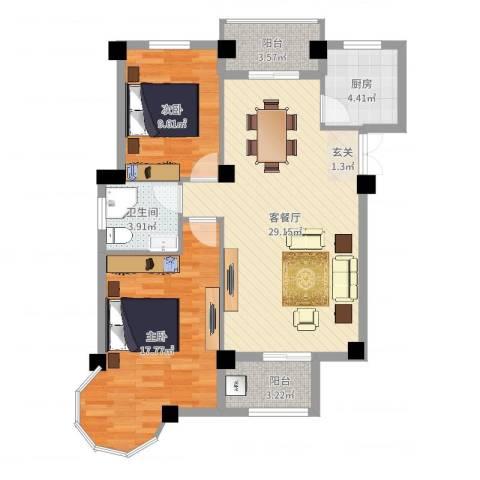 锦绣嘉园2室2厅1卫1厨90.00㎡户型图