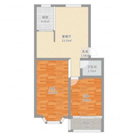 山海顺沁苑2室2厅1卫1厨80.00㎡户型图