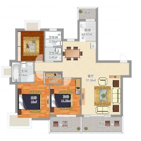 新时代3室1厅3卫1厨124.00㎡户型图