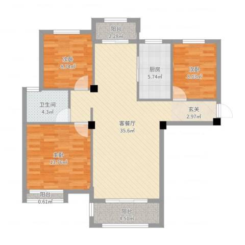 冠捷・观邸3室2厅1卫1厨104.00㎡户型图