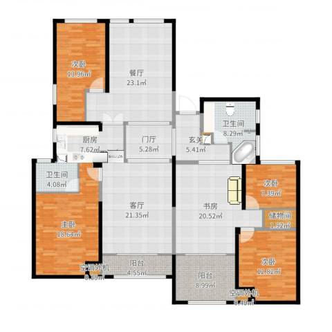 百大康桥5室2厅2卫1厨206.00㎡户型图