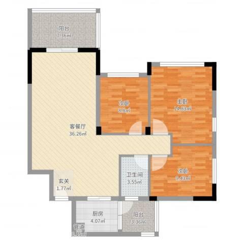 华南碧桂园翠云山3室2厅1卫1厨110.00㎡户型图