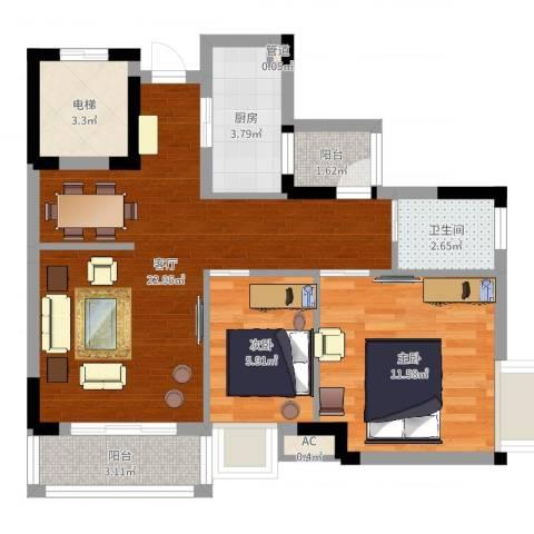万达丰大厦2室1厅1卫1厨69.00㎡户型图