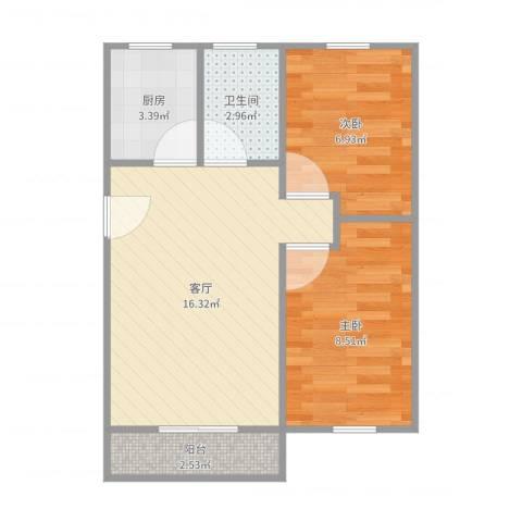 天乐小区2室1厅1卫1厨51.00㎡户型图