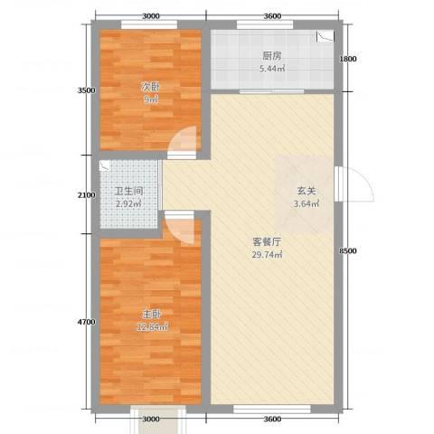 铭峰家苑2室2厅1卫1厨87.00㎡户型图
