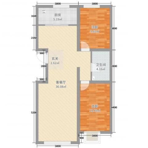铭峰家苑2室2厅1卫1厨89.00㎡户型图