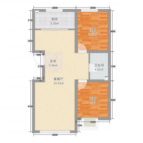 铭峰家苑2室2厅1卫1厨90.00㎡户型图