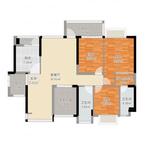 裕龙君汇3室2厅2卫1厨134.00㎡户型图