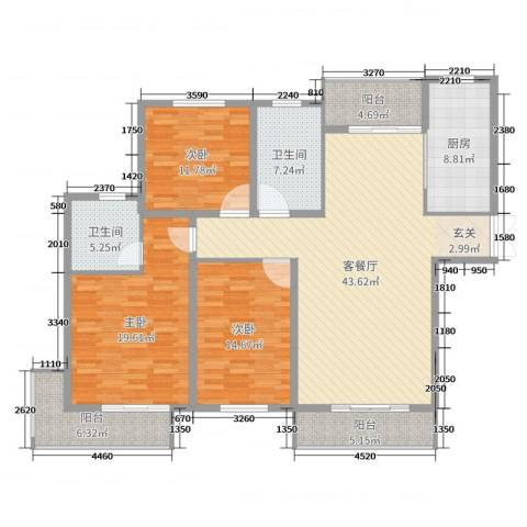 金色维也纳3室2厅2卫1厨160.00㎡户型图
