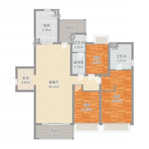 万科金域华府3室2厅2卫1厨157.00㎡户型图